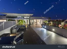 modern balcony sunset luxury penthouse stock photo 131580194