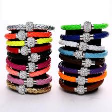 leather bracelet with buckle images Rhinestone pu leather cuff bracelet magnetic buckle wrap wristband jpg