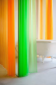 fluoro bright shower curtains via remodelista