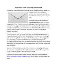 forwarding letter international freight forwarding letter of credit by ucbrokers issuu