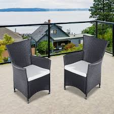 metal patio furniture set outsunny 2pcs rattan chair set garden wicker seat outdoor patio