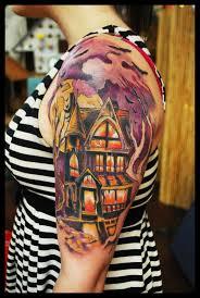 simple halloween tattoo flash best 25 haunted house tattoo ideas on pinterest psycho tattoo