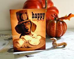 pilgrim happy thanksgiving dachshund card blank