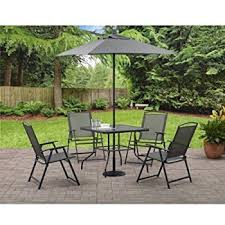 Folding Patio Set With Umbrella Amazon Com Outdoor 6 Piece Folding Patio Dining Furniture Set