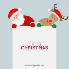 minimalist card with santa claus and reindeer vector