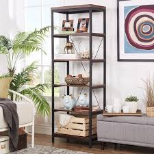 Classic Bookcase Somme Rustic Metal Frame 6 Tier Bookshelf Media Tower By Inspire Q