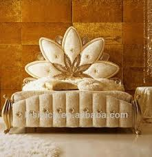 Upholstered Bedroom Furniture by Luxury Golden Fancy Flower Bed Replica Upholstered Bed Italy Style