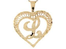real gold filigree beautiful heart letter l initial 2 92cm slide
