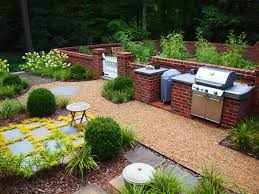 charcoal gas grill combo landscape traditional with bark mulch