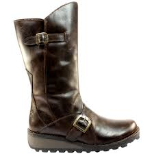 womens flat boots uk womens fly mes warm fur lined leather mid calf flat boots