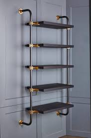 Adjustable Metal Shelves Wall Mounted Adjustable Loft Shelves With Brass Fittings And Burnt