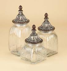 buy clear glass canister jar set of 3 with lids fancy canister