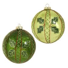 glass ornaments green with design