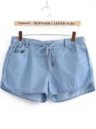 blue elastic waist denim jogger shorts from augustine u0027s