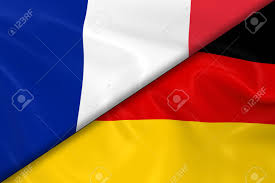 Germman Flag Flags Of France And Germany Divided Diagonally 3d Render Of