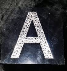rhinestone letter stickers bling large silver glitter clear rhinestone letter initial