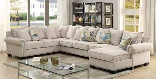 Fabric Sectional Sofas Furniture Of America Cm6156 3 Pc Skyler Ivory Fabric Sectional