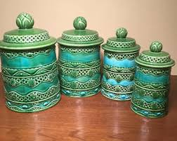 Green Canister Sets Kitchen - vintage ceramic kitchen canisters etsy