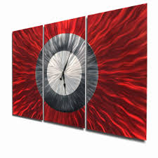 abstract clocks big red huge red u0026 silver metal wall clock by jon allen 62