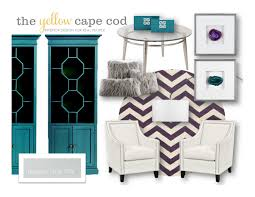 the yellow cape cod teal purple and gray living room and dining