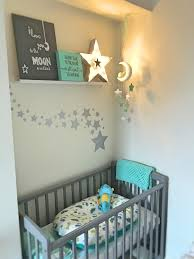 teal and grey star elephant nursery theme with poddlepod baby