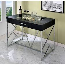 furniture of america jeremiah counter height table in chrome and
