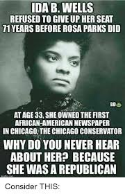 Rosa Parks Meme - ida b wells refused to give up her seat 71 years before rosa parks