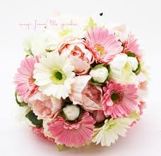 pink u0026 white bridal bouquet real touch gerber daisies and peonies