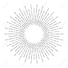 burst of sun rays in line style vector graphic lines