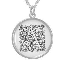 Monogrammed Sterling Silver Necklace Vintage Monogram Necklaces U0026 Lockets Zazzle