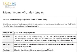 memorandum of understanding template dotxes