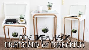 diy room decor nightstand with hanging glass terrarium ikea