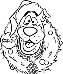 scooby doo wreath christmas celebration coloring pages