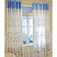 Fish Curtains Cotton Printed White And Blue Fish Curtains