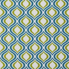 teal and light green geometric ovals outdoor print upholstery