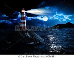 light house at night lighthouse at night lighthouse night scene illustration stock