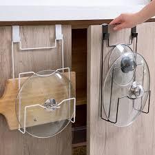 kitchen cupboard storage pans sale iron door back cupboard saucepans pan lids storage rack nail free chopping board holder for kitchen paint spraying