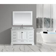 omega white 54 inch single sink mirror vanity set free shipping