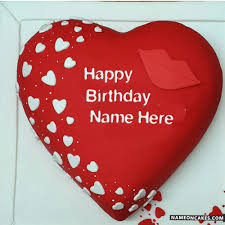 latest awesome heart red velvet birthday cake with name hbd cake