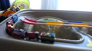 train and track table battery operated thomas and step2 train table youtube