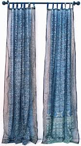 Boho Window Curtains Blue Turquoise Tie Dye Boho Window Treatment Indian Sari Window