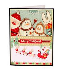 Merry Birthday Card Happy Deer Car Pop Up Card 3d Christmas Greeting Card Laser Cut