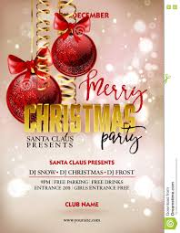 merry christmas party poster design template with decoration balls