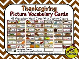 45 thanksgiving picture vocabulary cards a hughes design tpt