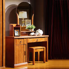 solid wood dresser drawer dressing table with makeup mirror