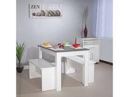 table et banc cuisine table 110 x 70 cm 2 bancs paros coloris blanc et b eacute ton