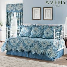 moonlit shadows reversible quilted blue daybed bedding set by waverly