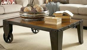 industrial coffee table with wheels industrial two wheels cart coffee table