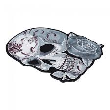 Sugar Skulls For Sale Diamond Studded Grey Sugar Skull U0026 Rose Patch Patches For Women