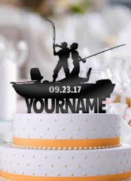 fishing wedding cake toppers personalized fishing boat with name and date wedding cake